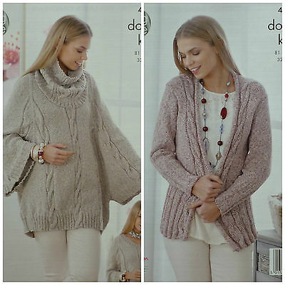 Knitting Pattern Womens Long Sleeve Cable Poncho Cowl Collar