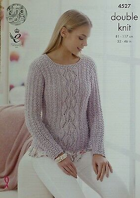 KNITTING PATTERN Womens Long Sleeve Round Neck Lacy Jumper DK 4527 King Cole