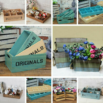 Vintage Wooden Pot Buckets Wooden Storage Boxes Planter Crates Jewellery Tray