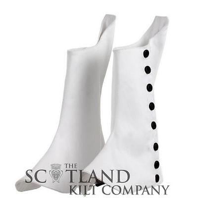 New Highlad Scottish Pipe Band Kilt Spats with Black Buttons sizes 7-12
