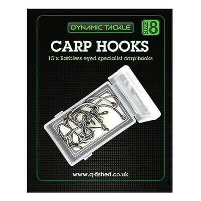 15 Barbless Size 8 Curved Shank Carp Fishing Hooks Rig Making