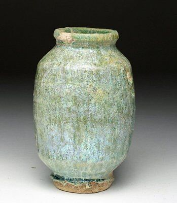 Ancient Islamic Persian Kashan Green Glazed Jar ca. 11th to 13th century AD.