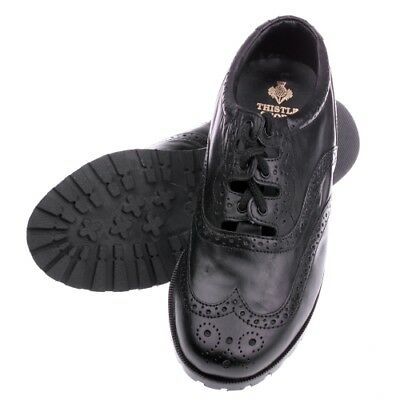 Boys Scottish Made Black Leather Ghillie Brogues Plastic Sole by Thistle Shoes