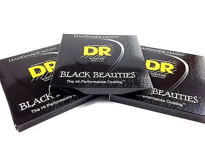 DR Guitar Strings Electric K3 Black Beauties High Performance 3 Packs 09-42