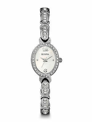 Bulova Women's 96L199 Quartz Silver Tone Mother of Pearl Bangle 17mm Watch