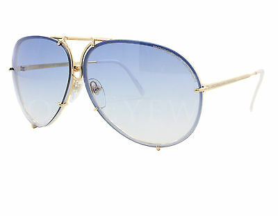 NEW Porsche Design P8478 W 66mm Gold Aviator Blue Gradient Sunglasses