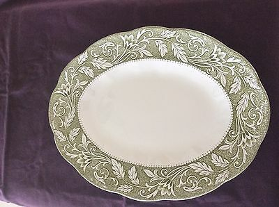 J&G Meakin English Ironstone Sterling Oval Serving Platter Renaissance Green 12""