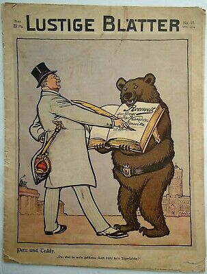 1910 German Funny Papers Teddy Roosevelt Bear Cover Full Issue Lustige Blatter