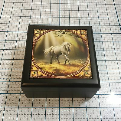 New Anne Stokes GLIMPSE OF A UNICORN Jewelry Trinket Box - Tile Top Black Wood