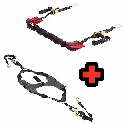 Warrior Motorcycle/Bike Ratchet Bar Straps And Tyre Down Wheel Restraint Combo