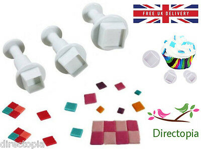 3 Piece Set Square Fondant Cake Cookies Icing Decorating Tool Plunger Cutter