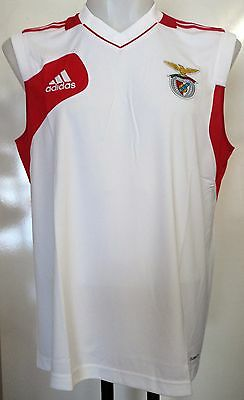 Benfica White/red Sleeveless Shirt By Adidas Size Xl 44/46 Inch Chest Brand New