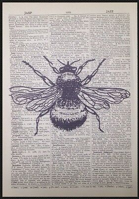 Vintage Bumble Bee Print Antique Dictionary Page Wall Art Picture Insect