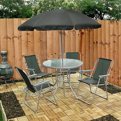 6 Peice Garden Patio Outdoor Table Chairs Umbrella Furniture Textoline Chair Set