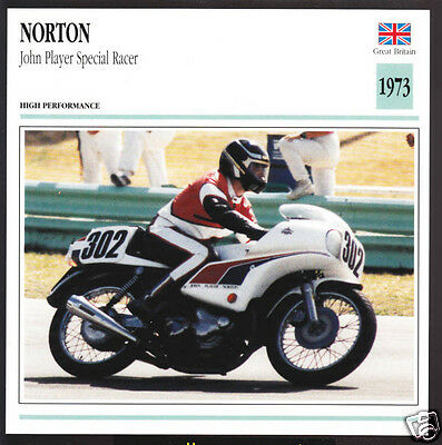 1973 Norton John Player Special Racer 750 749cc Motorcycle Photo Spec Info Card