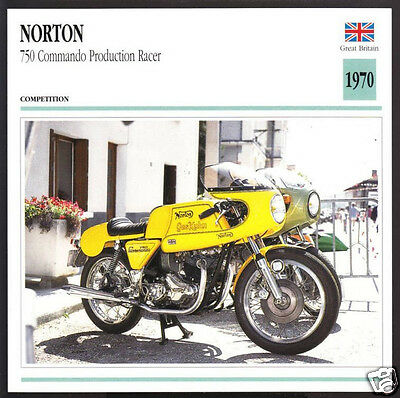 1970 Norton 750cc Commando Production Racer (745cc) Motorcycle Photo Spec Card