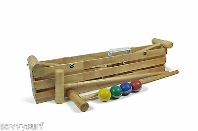 4 Player Pro Croquet Set Rubber Wood Wooden Croquet in Box Family Garden Game