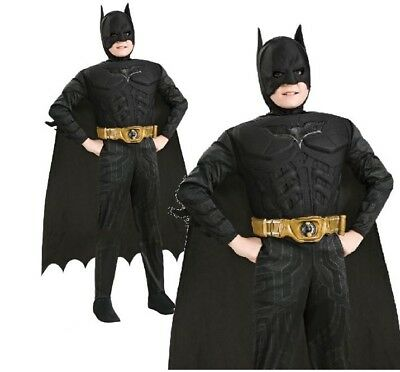 Child BATMAN DELUXE DARK KNIGHT MUSCLE CHEST Boys Fancy Dress Costume Age 3-10