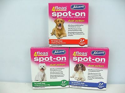 Johnson's 4 Fleas Spot On Dog Dual Action Kills Fleas Flea Larvae Biting Lice