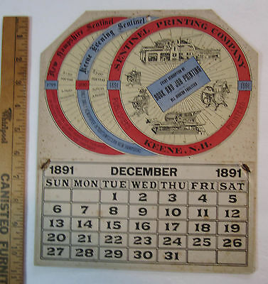 RARE - Advertising Calendar - Sentinel Printing Press Co - Keen NH Printers 1891