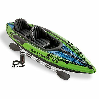 Intex K2 Challenger Inflatable Two Person Kayak Canoe with Paddles and Pump