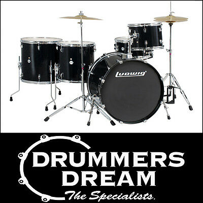NEW Ludwig Accent 5 Piece BLACK Sparkle Rock Drum Kit With Hardware & cymbals