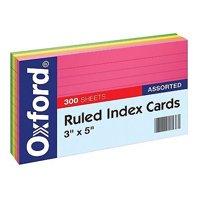 "Oxford Ruled Index Cards, 3"" x 5"" Size, Assorted Colors, (81300EE) 300 per Pack."