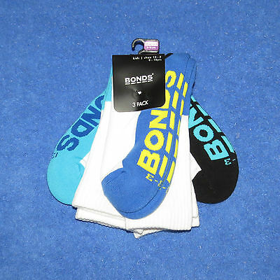 3 Pack of Kids BONDS White Crew Socks Size 9-12 / 13-3 / 2-8 BNWTs