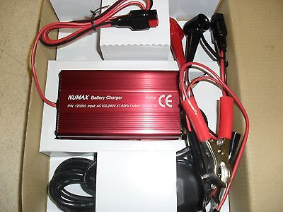 NUMAX Connect & Forget 12V 2amp Battery Charger for 18ah to 24Ah GOLF Batteries