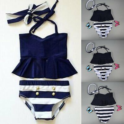 Kids Baby Girls Bikini Set Tankini Swimwear Swimsuit Bathing Suit Beachwear 1-6Y