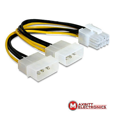 2 x Molex 4pin Male to 8pin PCI Express 15cm Y power supply for PCI Express card