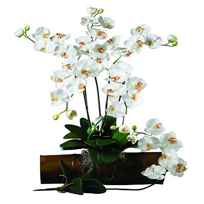 Nearly Natural Phalaenopsis Stem in White Set of 12