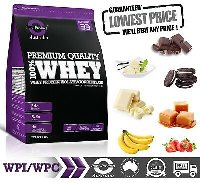 1Kg - Whey Protein Isolate / Concentrate Powder  Chocolate+ Shaker