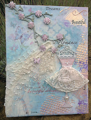 "Original, Mixed Media Canvas 'Love Is a Beautiful Dream' - 12"" x 9"""