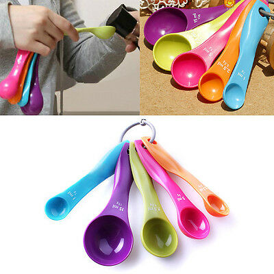 5Pcs/Set Kitchen Dining Cooking Colourful Measuring Spoons Baking Utensil Tools