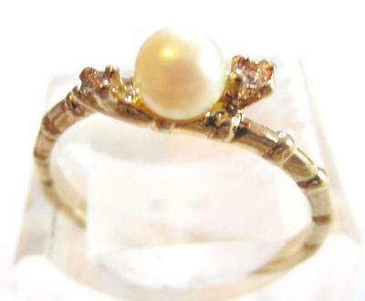 Vintage Bamboo Design Thin Band Pearl & Rhinestone Espo Gold Plated Ring*a327
