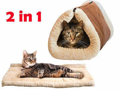 Self Heated Pet Bed Tunnel Thermal Cat Dog Warm Brown Cosy Soft Tube Portable