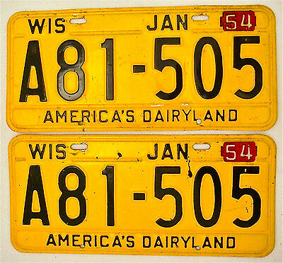 Wisconsin 1954 Tabs on 1953 Bases License Plate Garage Vtg 50s Old Car Auto Tags