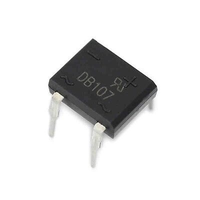 100PCS DIP- 4 DB107 1A 1000V Single Phases Diode Rectifier Bridge