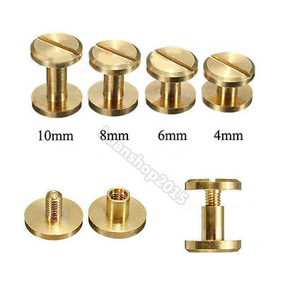 4·8 10mm Flat Belt Screw Leather Craft Chicago Nail Brass Solid Rivets Stud Head