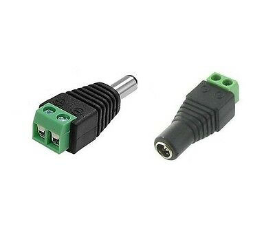 1pair Male Female 2.1 x 5.5mm 12V DC Power Plug Jack Adapter Connector for CCTV