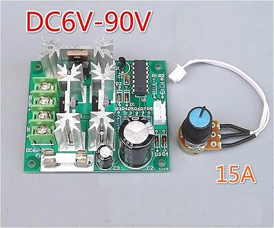 5PCS 6-90V 15A DC Motor Speed Controller Pulse Width PWM Speed Regulator Switch