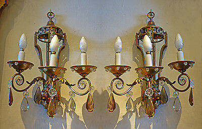 Maison Jansen Gilt Dore Over Bronze Sconces 3 Lights High Quality 20 1/2 Inches