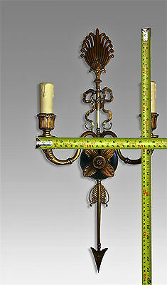 "Empire Style Patinated Gilt Dore Arrow Bronze Sconces 2 Lights 23 "" Circa 1940"