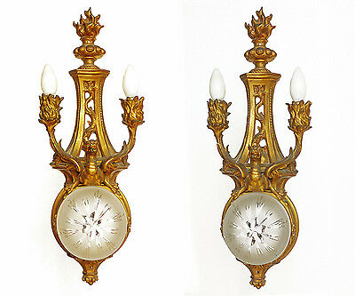 French Style Gilt Dore Bronze Sconces 2 Lights Center Globe Shade 24 ""