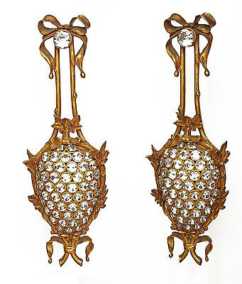 French Style Gilt Dore Bronze & Crystal Buttons Sconces 20 1/2 Inches