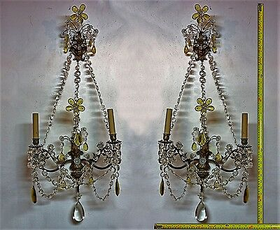 Maison Jansen Crystal Patinated Bronze Sconces 2 Lights 35 Inches Circa 1920