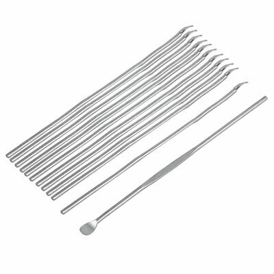 Metal Earwax Remover Ear Care Cleaning Tool Curette Earpick Silver Tone 12pcs