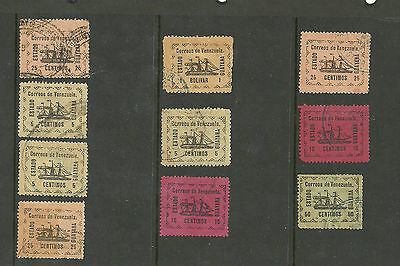 Venezuela 1903 Local Guayana Steamship Lot, full set with repeats (10 stamps)