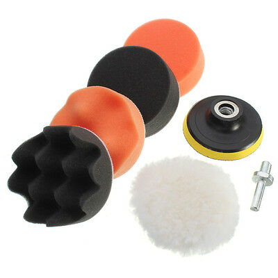 "7Pcs 3"" Buffing Pad Auto Car Polishing Wheel Kit Buffer + Drill Adapter"